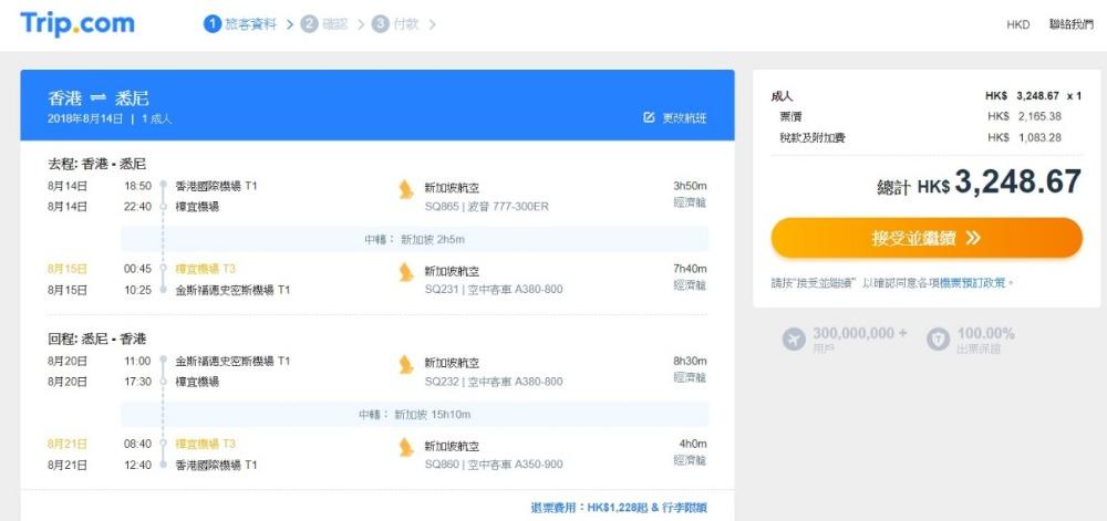 香港飛 悉尼HK$2,165起
