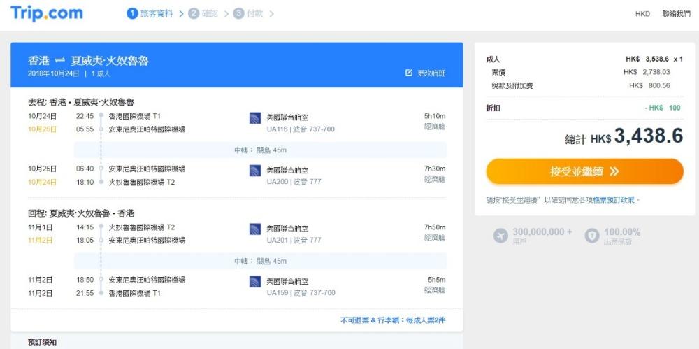 香港飛 夏威夷HK$2,638起(連稅HK$3,439)