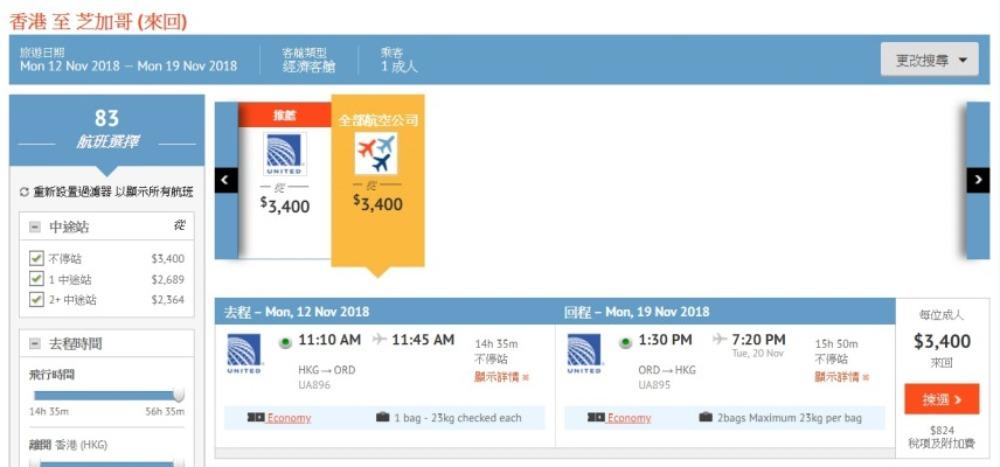 香港飛 芝加哥HK$3,200起 (連稅 HK$4,024)