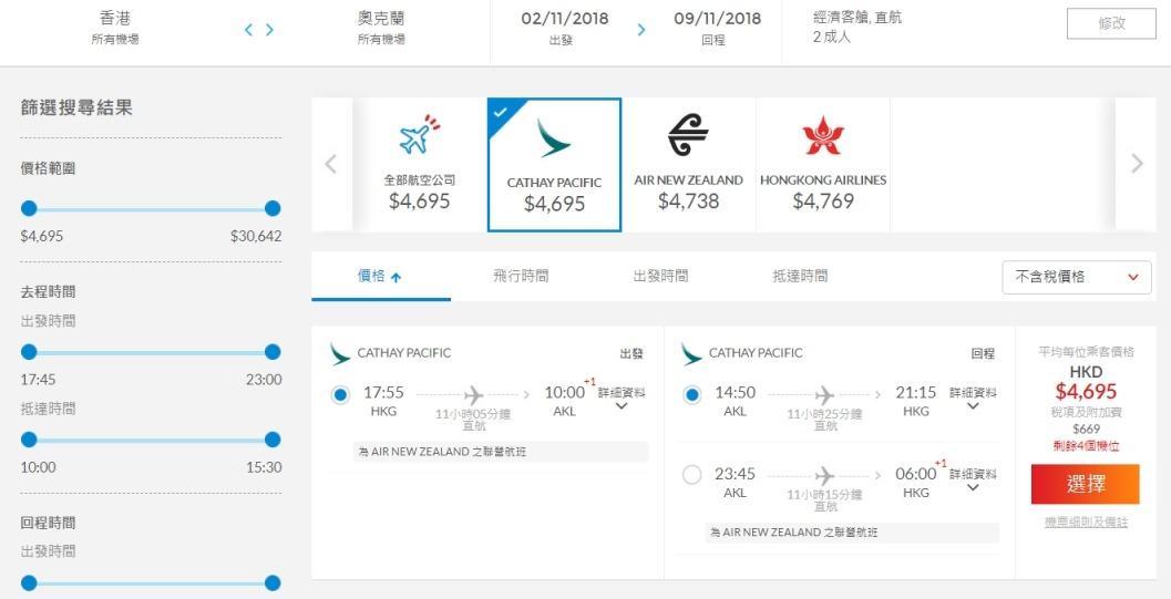 香港往返奧克蘭  國泰航空 HK$4,695起(連稅HK$5,364)